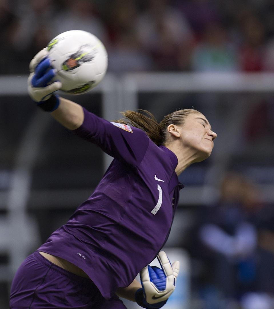 Goalie Hope Solo #1 of the United States throws the ball back in play during the second half of semifinals action against Costa Rica of the 2012 CONCACAF Women's Olympic Qualifying Tournament at BC Place on January 27, 2012 in Vancouver, British Columbia, Canada. (Photo by Rich Lam/Getty Images)