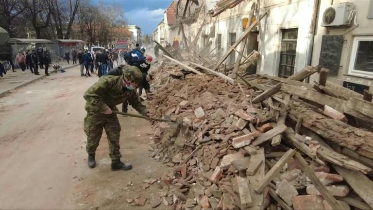 Croatians search the rubble for survivors after a powerful earthquake
