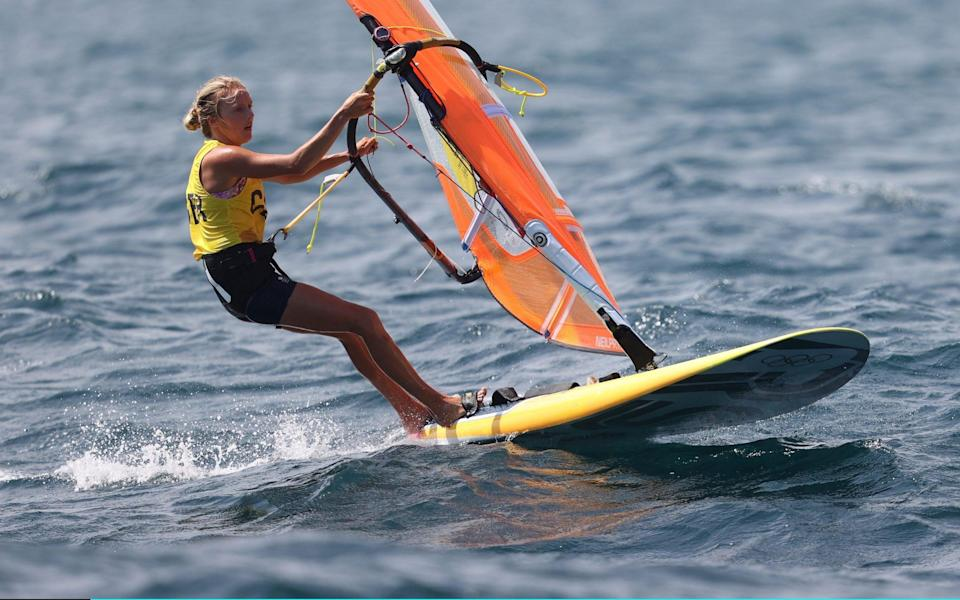 Emma Wilson of Team Great Britain competes in the Women's RS:X windsurf race on day six of the Tokyo 2020 Olympic Games at Enoshima Yacht Harbour on July 29, 2021 in Fujisawa, Kanagawa, Japan - Phil Walter/Getty Images