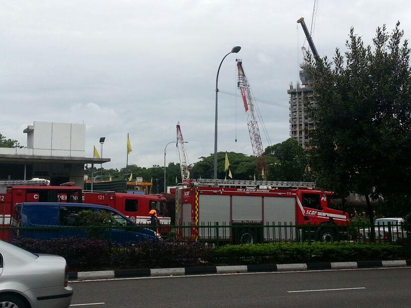 SCDF fire engines outside the Newton MRT station.
