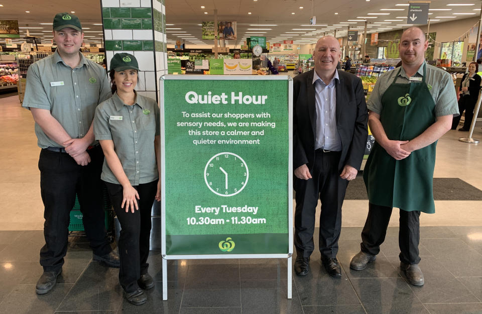 Woolworths has announced it will now be holding a Quiet Hour in all of its stores from this week. Source: Woolworths