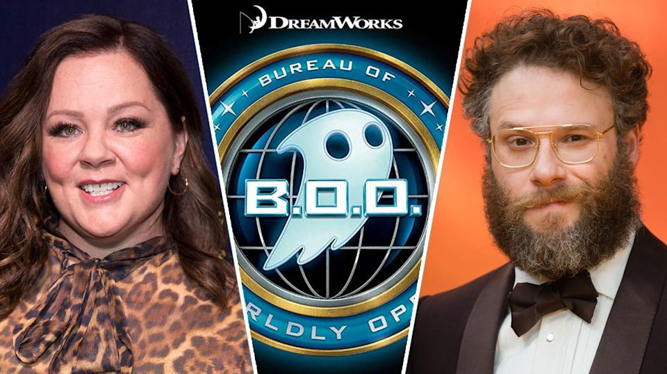B.O.O.: Bureau of Otherworldly Operations would have starred Melissa McCarthy, Seth Rogen, and Bill Murray. (Richard Brian/Sipa USA for PA/Dreamworks/Samir Hussein/WireImage for Getty)