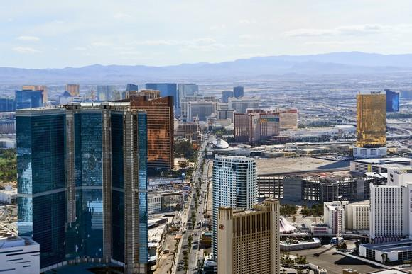 Las Vegas Strip viewed from the north end.