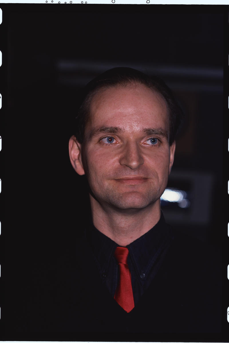 Portrait of Kraftwerk Band Member Florian Schneider (Photo by Lynn Goldsmith/Corbis/VCG via Getty Images)
