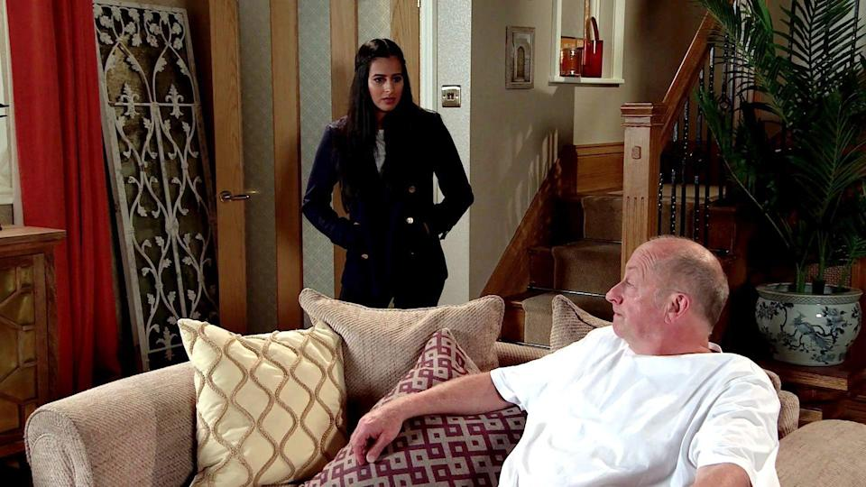 <p>Geoff makes it clear that he has no intention of selling the house. When quizzed about the loans, Geoff lies and blames Yasmeen's supposed expensive tastes.</p>