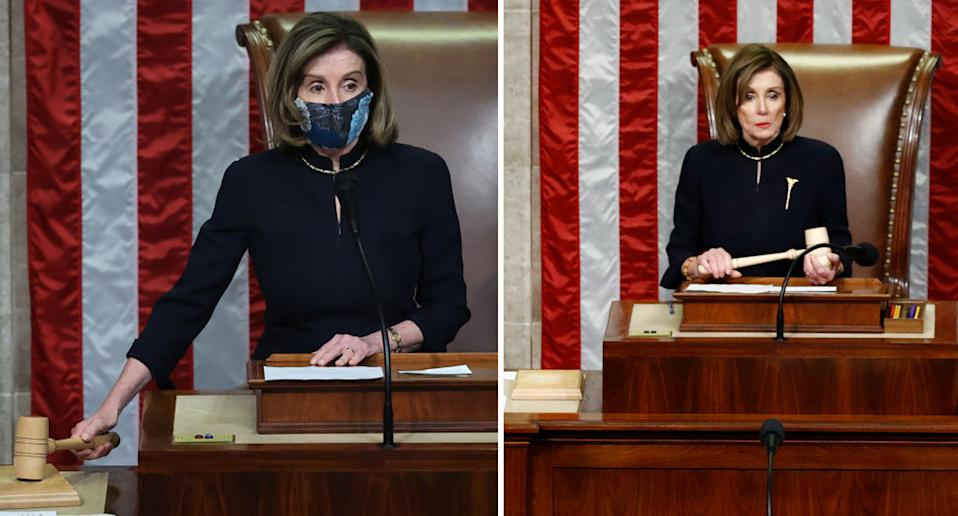 House Speaker Nancy Pelosi seen wearing the same dress at Trump's impeachment votes in 2019 and 2021.