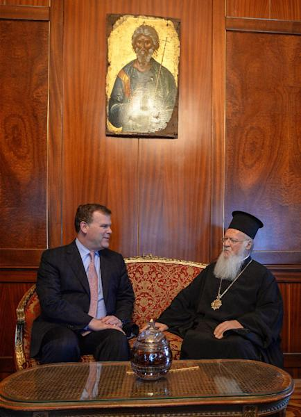 Canadian Foreign Minister John Baird, left, and Ecumenical Patriarch Bartholomew I speak during a meeting at the Partiarchate in Istanbul, Turkey, Saturday, Sept. 14, 2013. Baird held talks with his Turkish counterpart Ahmet Davutoglu and President Abdullah Gul on security in the region and terror.(AP Photo)