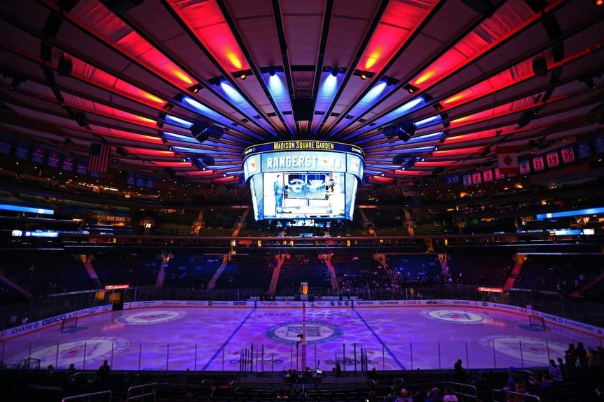 A general view of the Madison Square Garden ice during Rangers game