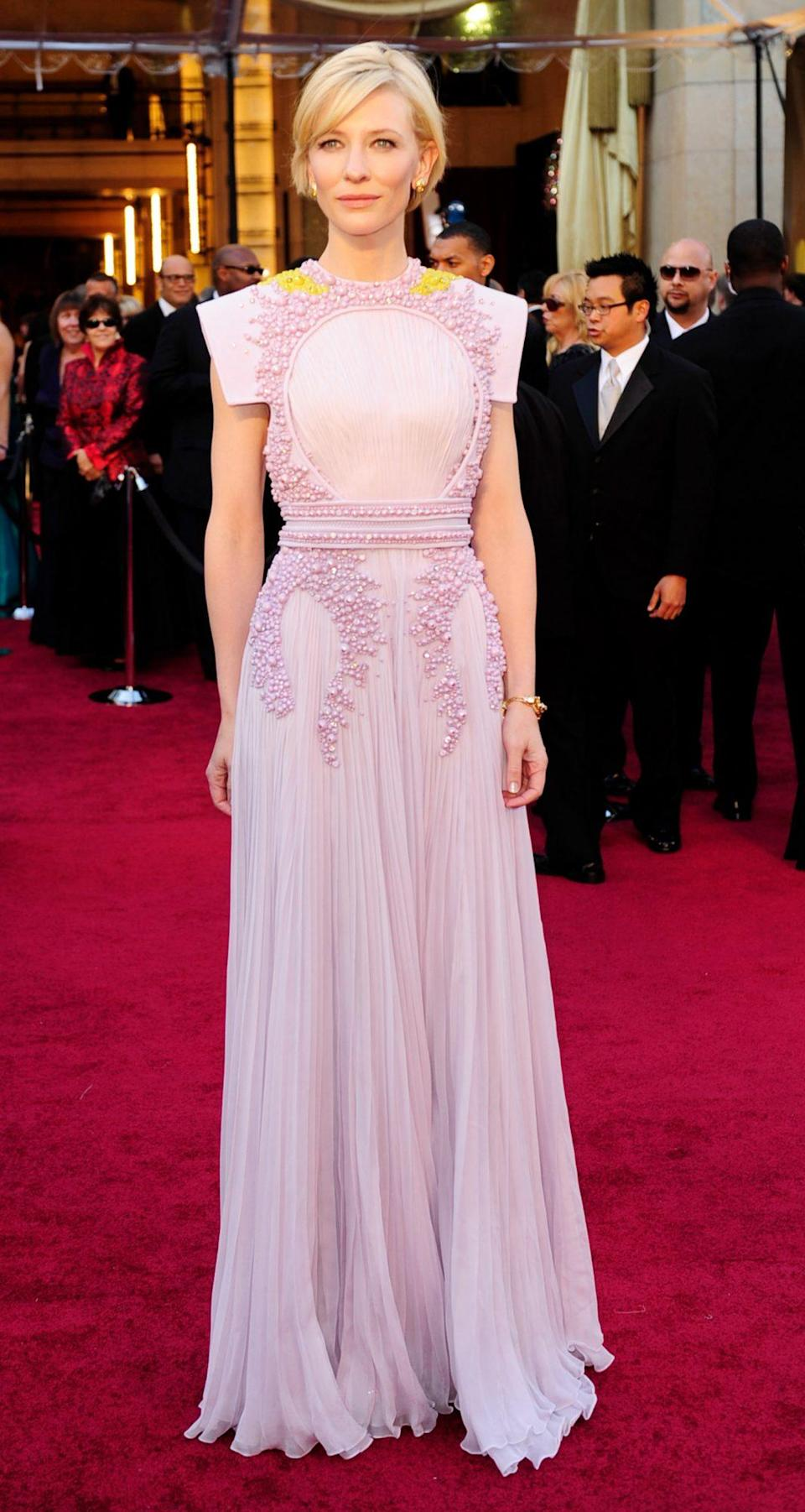 <p>Cate Blanchett looked gorgeous in a couture lilac gown by Givenchy. </p>