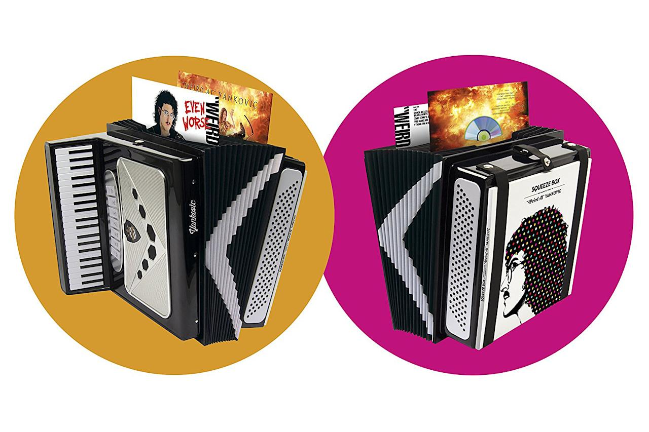 "<p>For those who can't get enough of ""Weird Al,"" this hefty, accordion-shaped package contains a whopping 15 CDs — all 14 of the polka/comic genius's studio albums, as well as a 15th disc of non-album tracks titled <em>Medium Rarities</em>. This set, also available on vinyl, features a 100-page book with rare photos and memorabilia. This is the ultimate box for fans of the premiere song parodist of our time. (Photo: Legacy Recordings) </p>"