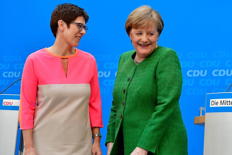 New ally: the newly appointed CDU general secretary Annegret Kramp-Karrenbauer with Chancellor Angela Merkel: AFP/Getty Images