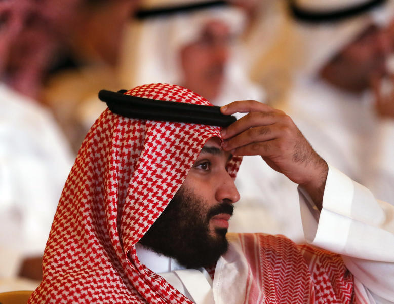 Saudi Crown Prince, Mohammed bin Salman, attends the Future Investment Initiative conference, in Riyadh, Saudi Arabia, Tuesday, Oct. 23, 2018. The high-profile economic forum in Saudi Arabia is the kingdom's first major event on the world stage since the killing of writer Jamal Khashoggi at the Saudi Consulate in Istanbul earlier this month. (AP Photo/Amr Nabil)