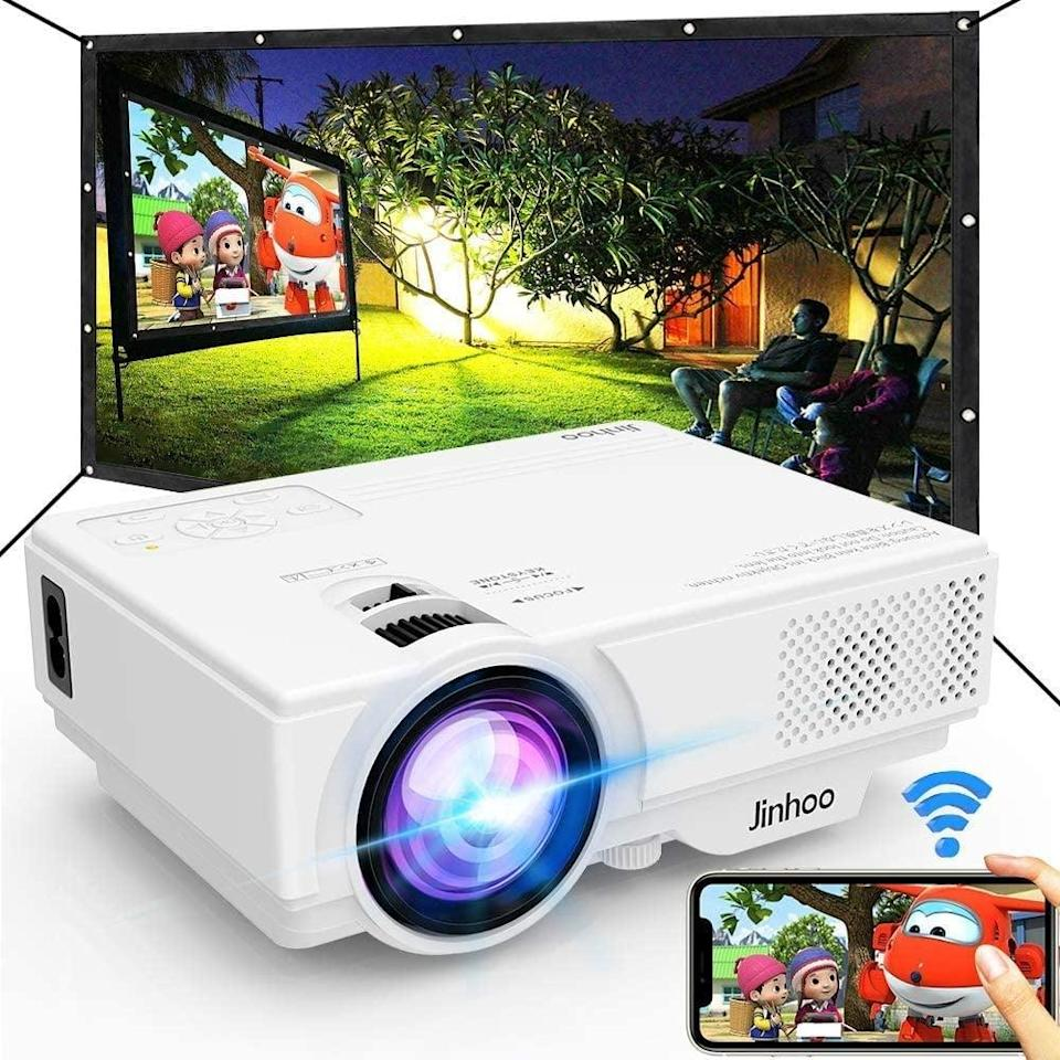 """<p>Complete your summer outdoor setup with the <span>Jinhoo WiFi Projector with 100"""" Projector Screen</span> ($110). It's equipped with HDMI, VGA, AV, USB ports, so you can enjoy your favorite content outdoors or indoors. You can even connect to your smartphone via WiFi! The projector has a 32-170-inch display. </p>"""