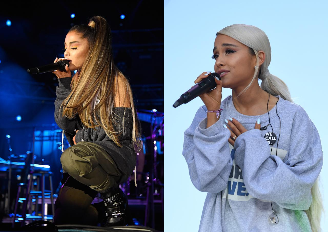 <p><strong>When:</strong> 28 March<br /> At the March For Our Lives concert, Ariana Grande surprised fans by arriving on stage wearing newly ice blonde hair in a low ponytail.<br /><em>[Photo: Getty]</em> </p>