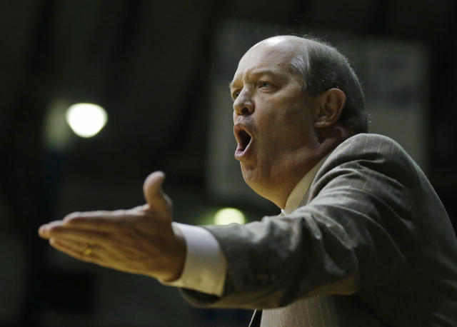 Vanderbilt head coach Kevin Stallings argues a call during the first half of an NCAA college basketball game against Butler Tuesday, Nov. 19, 2013, in Indianapolis. (AP Photo/Darron Cummings)