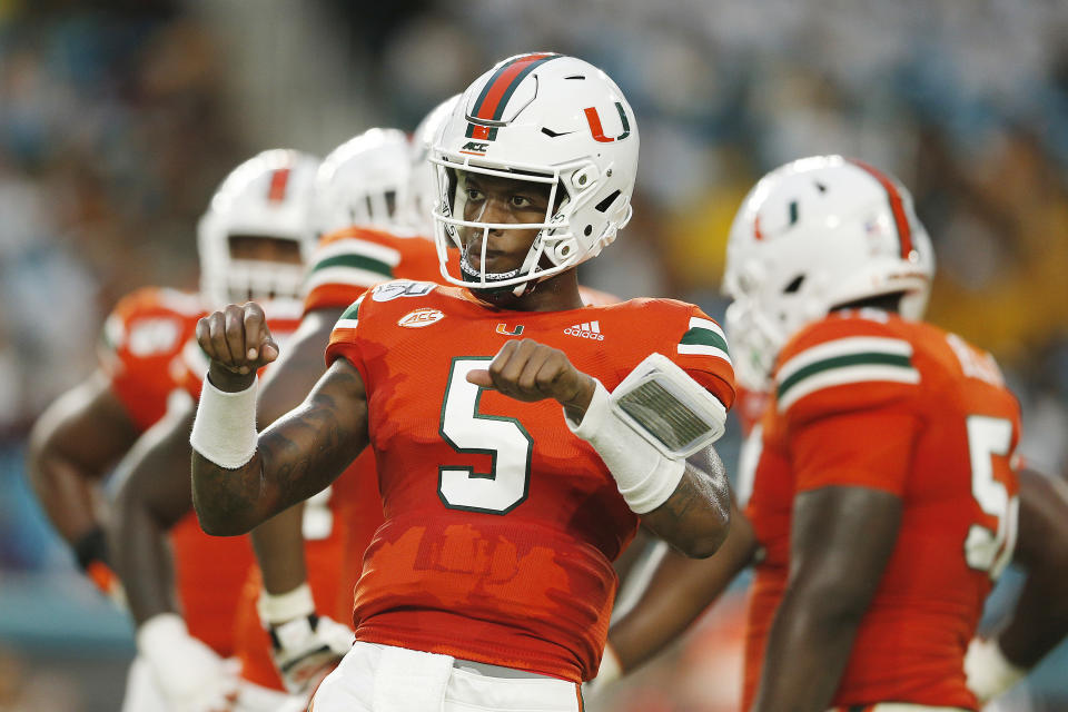 MIAMI, FLORIDA - SEPTEMBER 14:  N'Kosi Perry #5 of the Miami Hurricanes looks on against the Bethune Cookman Wildcats at Hard Rock Stadium on September 14, 2019 in Miami, Florida. (Photo by Michael Reaves/Getty Images)