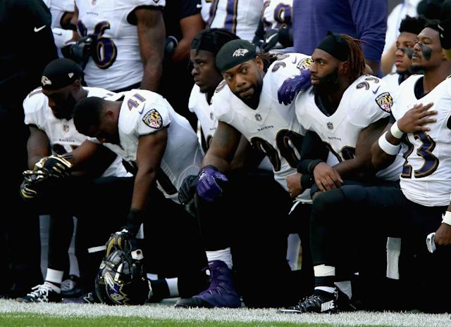 The Baltimore Ravens protested in London earlier this year. (Getty)