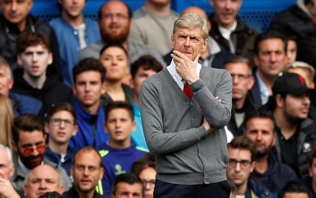 Arsene Wenger on the touchline at Stamford Bridge. (Reuters)