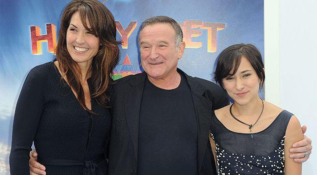 Robin Williams with his wife, Susan Schneider and daughter, Zelda Williams. Photo: AP.