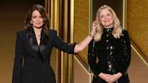 Tina Fey (L) and Amy Poehler (R) hosted the 78th Annual Golden Globe Awards ceremony simultaneously in New York and Beverly Hills