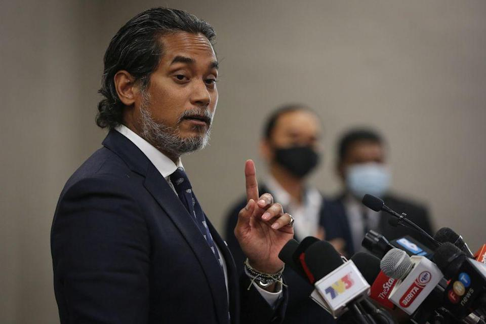 Science, Technology and Innovation Minister Khairy Jamaluddin speaks during a press conference at Parliament in Kuala Lumpur January 5, 2021. — Picture by Yusof Mat Isa