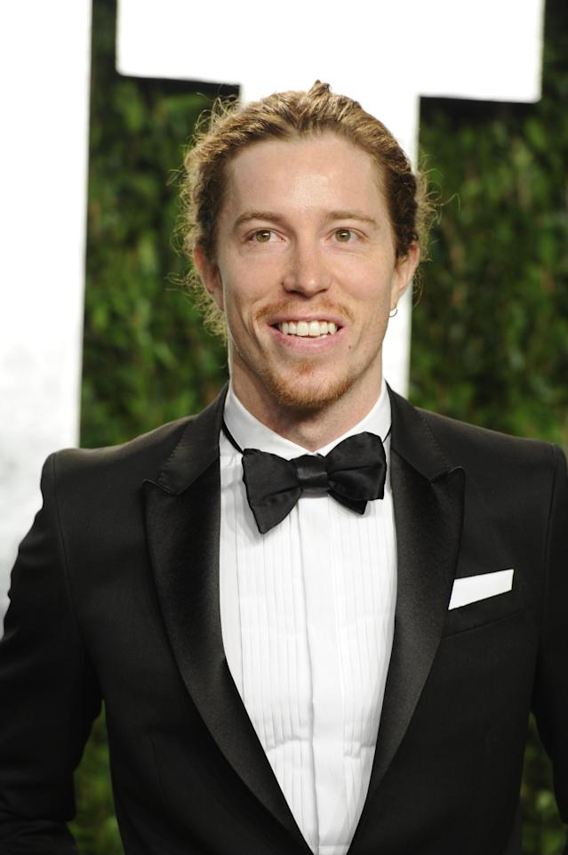 <p>Shaun White arrives at the Vanity Fair Oscar party on Sunday, Feb. 26, 2012, in West Hollywood, Calif. (AP Photo/Evan Agostini) </p>