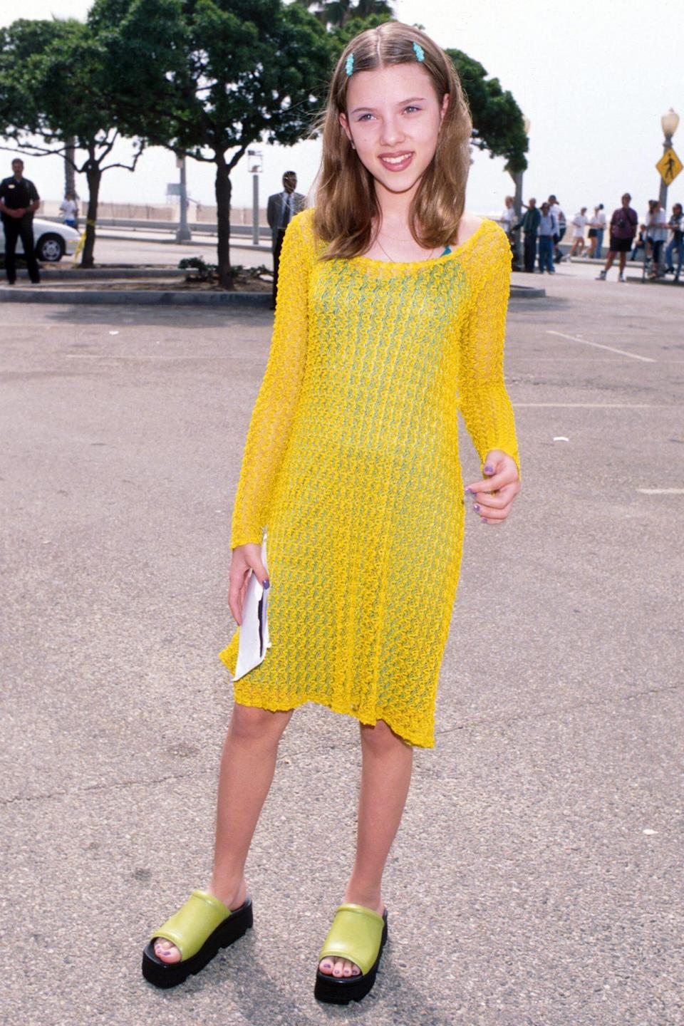 <p>With turquoise hair clips, neon green platform sandals and a sunshine-yellow crochet dress, the star had the bright idea at the Independent Spirit Awards in 1997.</p>
