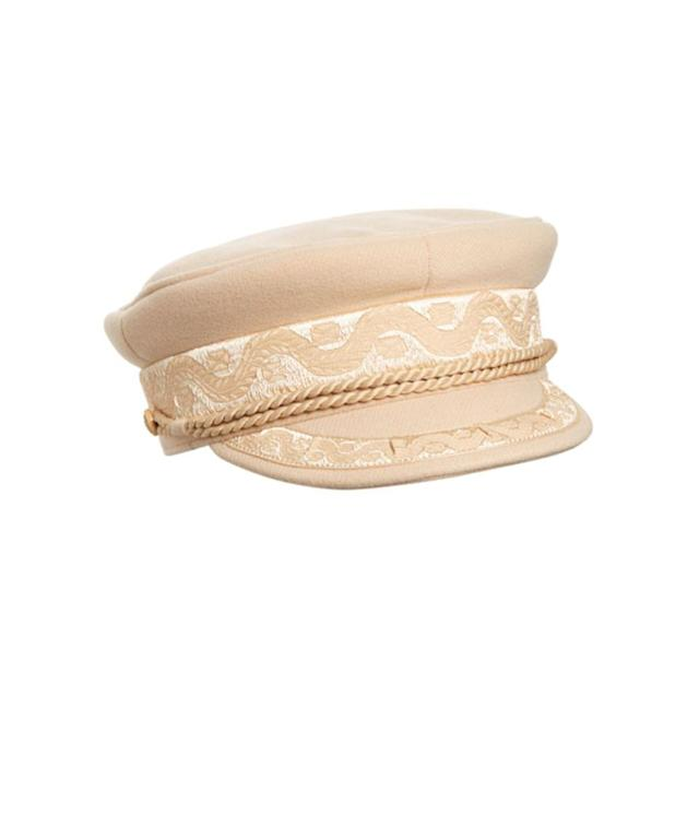 "<p>Riviera cap, $99, <a href=""https://www.surfstitch.com/on/demandware.store/Sites-ss-au-Site/en_AU/Product-Variation?pid=lack-of-color-riviera-cap&dwvar_lack-of-color-riviera-cap_swatchColour=HONEY&vgid=lack-of-color-riviera-cap-navy-black"" rel=""nofollow noopener"" target=""_blank"" data-ylk=""slk:surfstitch.com"" class=""link rapid-noclick-resp"">surfstitch.com</a> </p>"