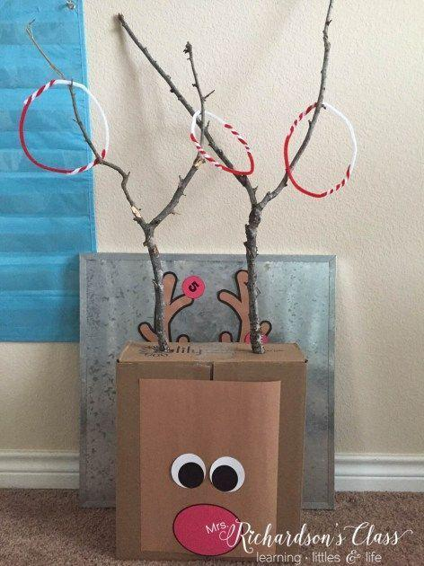 "<p>Bring the ring toss out of the backyard and into the party with this adorable reindeer game. Send the kids out back to find the perfect V-shaped sticks to use as the antlers, then enlist their help in making pipe-cleaner rings and painting a goofy Rudolph face onto the box for a base.</p><p><em><a href=""http://www.mrsrichardsonsclass.com/reindeer-holiday-party-freebie/"" rel=""nofollow noopener"" target=""_blank"" data-ylk=""slk:Get the tutorial at Mrs. Richardson's Class »"" class=""link rapid-noclick-resp"">Get the tutorial at Mrs. Richardson's Class »</a></em><br></p>"