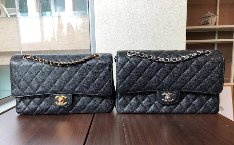 An authentic 10-inch Chanel Classic bag, at left with gold buckle, and a AAA-grade duplicate, at right with silver buckle.