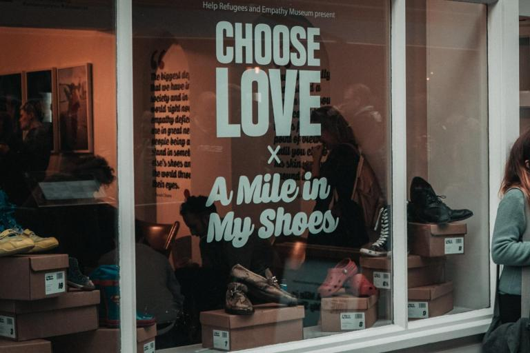 Soho shop invites Londoners to walk a mile in refugees' shoes