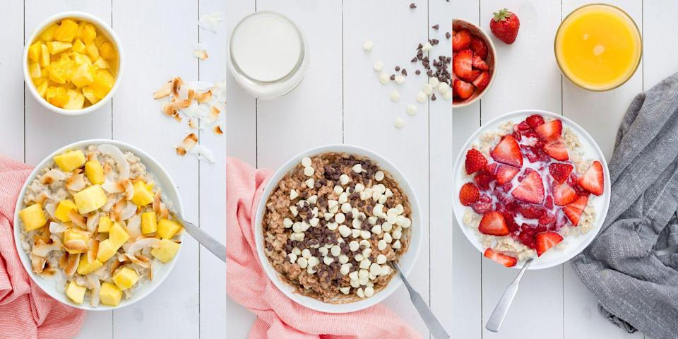 """<p>There's nothing like a steaming bowl of porridge in the morning, especially if you've got a bunch of add-ins. We're talking everything from <a href=""""https://www.delish.com/uk/cooking/recipes/a29017418/triple-chocolate-oatmeal-recipe/"""" rel=""""nofollow noopener"""" target=""""_blank"""" data-ylk=""""slk:Triple Chocolate Porridge"""" class=""""link rapid-noclick-resp"""">Triple Chocolate Porridge</a> to <a href=""""https://www.delish.com/uk/cooking/recipes/a29016981/strawberries-n-cream-oatmeal-recipe/"""" rel=""""nofollow noopener"""" target=""""_blank"""" data-ylk=""""slk:Strawberries 'N' Cream Porridge"""" class=""""link rapid-noclick-resp"""">Strawberries 'N' Cream Porridge</a>, <a href=""""https://www.delish.com/uk/cooking/recipes/a29016856/slow-cooker-blueberry-oatmeal-recipe/"""" rel=""""nofollow noopener"""" target=""""_blank"""" data-ylk=""""slk:Blueberry Porridge"""" class=""""link rapid-noclick-resp"""">Blueberry Porridge</a> to <a href=""""https://www.delish.com/uk/cooking/recipes/a29016864/tropical-oatmeal-recipe/"""" rel=""""nofollow noopener"""" target=""""_blank"""" data-ylk=""""slk:Tropical (Mango) Porridge"""" class=""""link rapid-noclick-resp"""">Tropical (Mango) Porridge</a>. Add-ins like this instantly take the morning meal up a notch. </p><p>Bored of having the same-old recipe? We've got you covered with some delicious (and super easy) twists on porridge. </p>"""