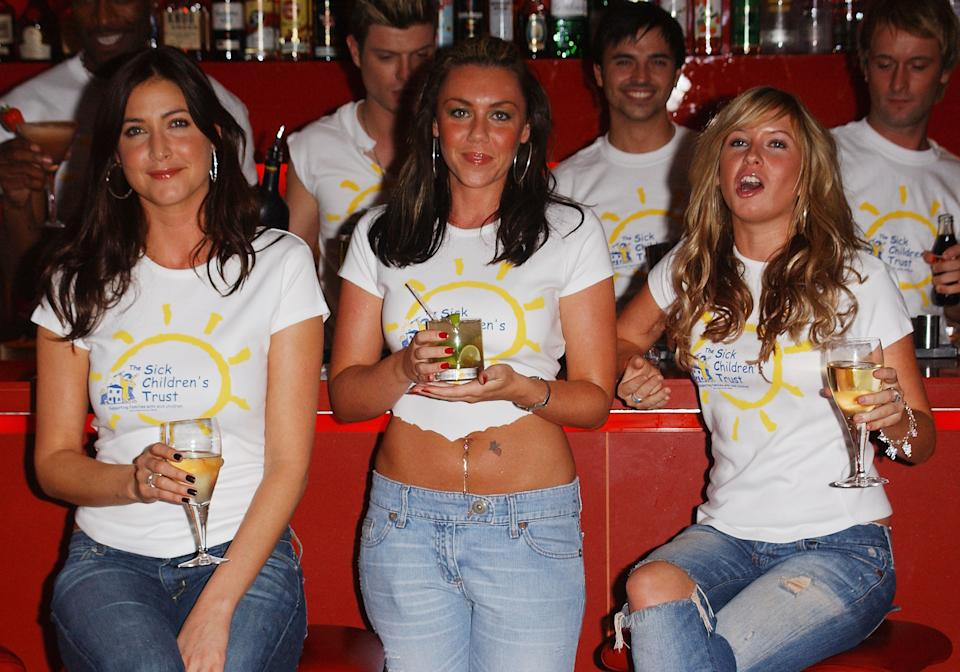 """LONDON - SEPTEMBER 30: (L-R) Lisa Snowdon, Michelle Heaton and Brooke Kinsella attend the """"Stars Behind Bars"""" event at Millbank Lounge at the City Inn Hotel on September 30, 2004 in London. (Photo by David Westing/Getty Images)"""