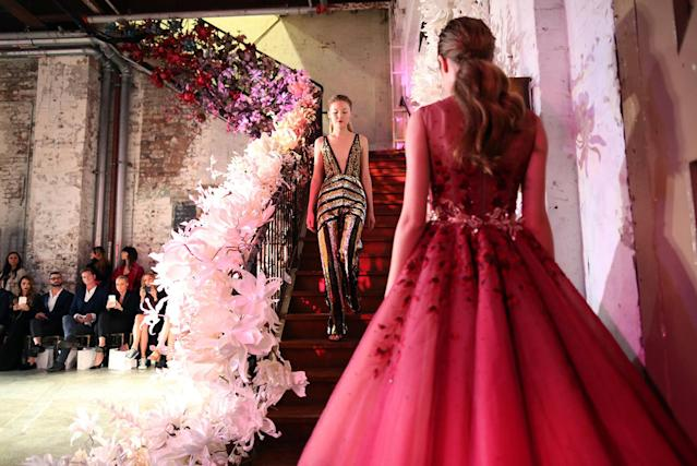 <p>Models present creations by Australian designer Steven Khalil during the Mercedes-Benz Fashion Week Australia in Sydney, Australia, May 15, 2017. (Photo: David Moir/EPA) </p>