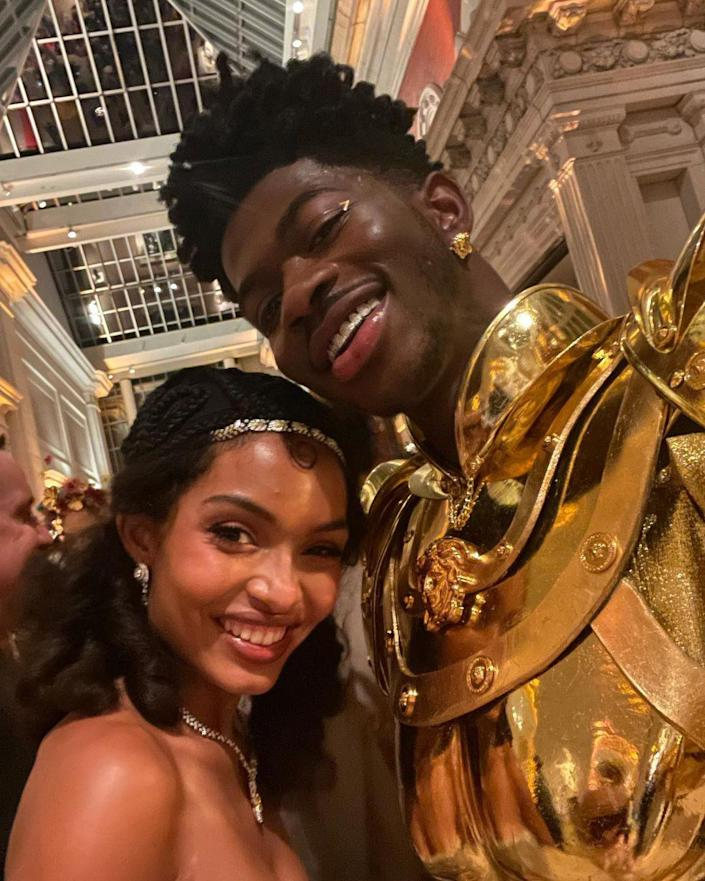 <p>Lil Nas X and Yara Shahidi made for one sparkly pair inside the Met. </p>