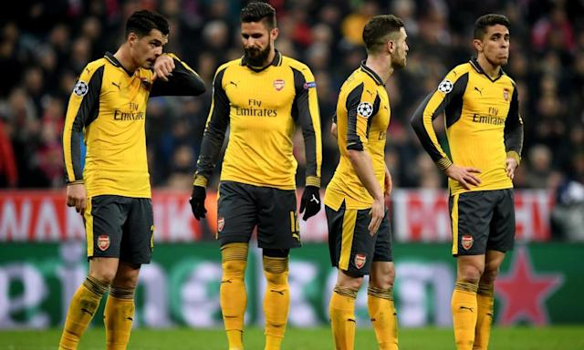 "<span class=""element-image__caption"">Arsenal's heavy defeat by Bayern Munich helped derail their season.</span> <span class=""element-image__credit"">Photograph: Matthias Hangst/Bongarts/Getty Images</span>"