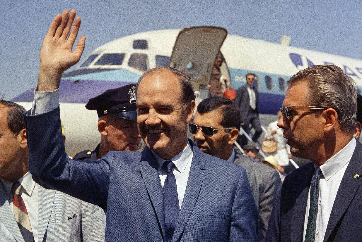 FILE - In this Aug. 12, 1968, file photo, Democratic presidential candidate Sen. George McGovern (D-SD.) waves on his arrival to New York. A family spokesman says, McGovern, the Democrat who lost to President Richard Nixon in 1972 in a historic landslide, has died at the age of 90. According to the spokesman, McGovern died Sunday, Oct. 21, 2012 at a hospice in Sioux Falls, surrounded by family and friends. (AP Photo/John Lindsay, File)