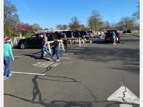 A food give-away was conducted at Harbor Island Park in Mamaroneck Tuesday.