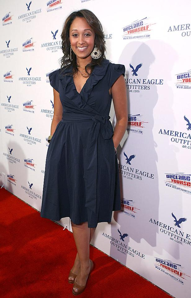 "Red, white, and blue! Tamera Mowry picked the perfect outfit for the patriotic event. Chris Weeks/<a href=""http://www.wireimage.com"" target=""new"">WireImage.com</a> - May 22, 2008"