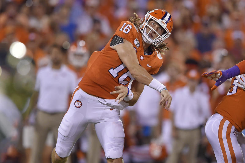 Clemson quarterback Trevor Lawrence throws a pass during the first half of an NCAA college football game against Charlotte Saturday, Sept. 21, 2019, in Clemson, S.C. (AP Photo/Richard Shiro)