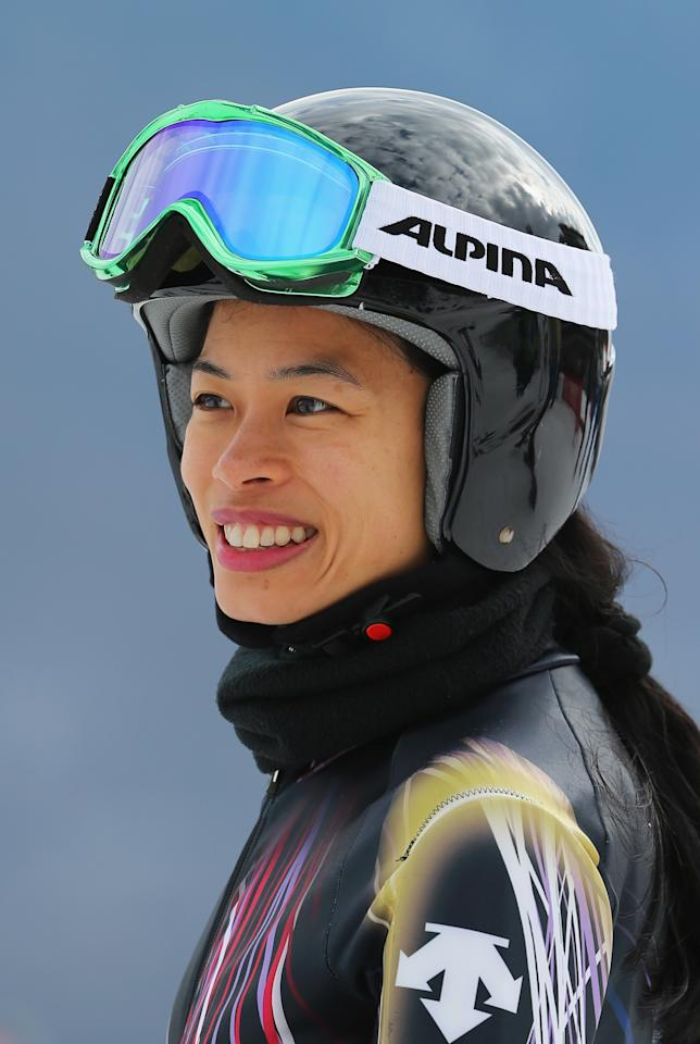 SOCHI, RUSSIA - FEBRUARY 10: Vanessa Mae of Thailand attends the Alpine Skiing Women's Super Combined Downhill on day 3 of the Sochi 2014 Winter Olympics at Rosa Khutor Alpine Center on February 10, 2014 in Sochi, Russia. (Photo by Clive Rose/Getty Images)