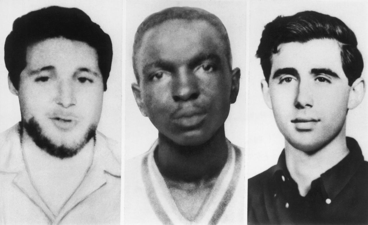 <p>From left, Michael Schwerner, James Chaney, and Andrew Goodman were three CORE civil rights workers who were murdered in Mississippi by members of the Ku Klux Klan, Philadelphia, Mississippi, June 24, 1964. (Photo: Underwood Archives/Getty Images) </p>