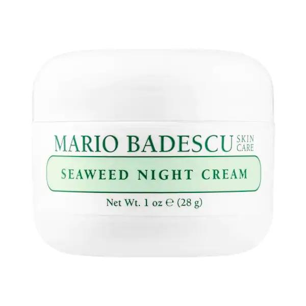 """<p>We've got soothing seaweed to thank for the glow that comes after using this cream. You're busy minding your own business (sleeping) while collagen, elastin, and other ingredients in the mineral-rich formula are hard at work.</p> <p><product href=""""https://www.sephora.com/product/mario-badescu-seaweed-night-cream-P440501?icid2=products%20grid:p440501"""" target=""""_blank"""" class=""""ga-track"""" data-ga-category=""""internal click"""" data-ga-label=""""https://www.sephora.com/product/mario-badescu-seaweed-night-cream-P440501?icid2=products%20grid:p440501"""" data-ga-action=""""body text link"""">Mario Badescu Seaweed Night Cream</product> ($22)</p>"""