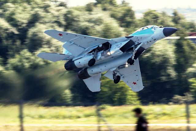 <p>A Mikoyan MiG-35 multirole fighter aircraft in flight at the MAKS-2017 International Aviation and Space Salon in Zhukovsky, Moscow Region, Russia, July 18, 2017. (Photo: Sergei Bobylev/TASS via Getty Images) </p>