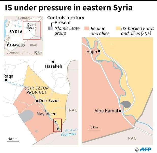 Map showing territorial control in East Syria as of January 25