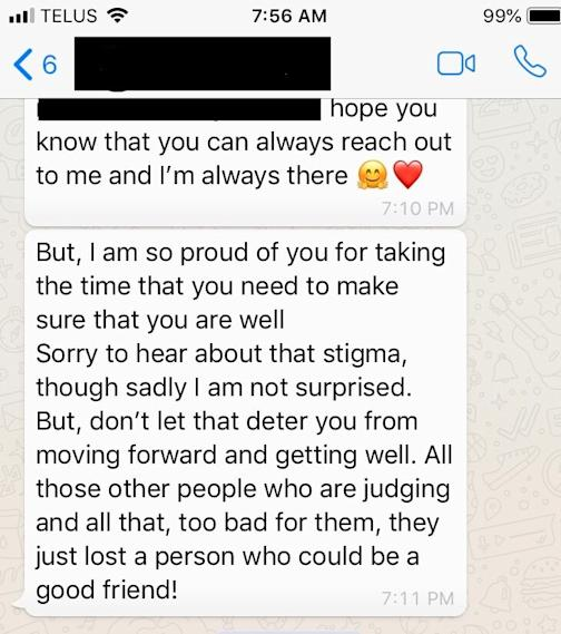 photo of text messages from contributor's aunt