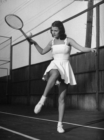 Rita Hayworth models tennis fashions in 1940. Peter Stackpole—Time & Life Pictures/Getty Images
