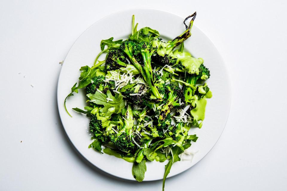 """This vegetable side dish can be made hours ahead of your Memorial Day cookout, just wait until you're ready to serve it to toss it all together. <a href=""""https://www.epicurious.com/recipes/food/views/grilled-broccoli-and-arugula-salad?mbid=synd_yahoo_rss"""" rel=""""nofollow noopener"""" target=""""_blank"""" data-ylk=""""slk:See recipe."""" class=""""link rapid-noclick-resp"""">See recipe.</a>"""