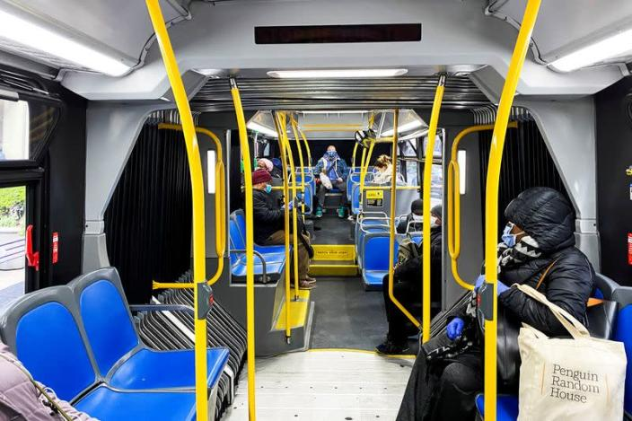 People try to keep social distance as they use the New York City The Metropolitan Transportation Authority (MTA) bus system during the outbreak of the coronavirus disease (COVID-19) in New York City, New York