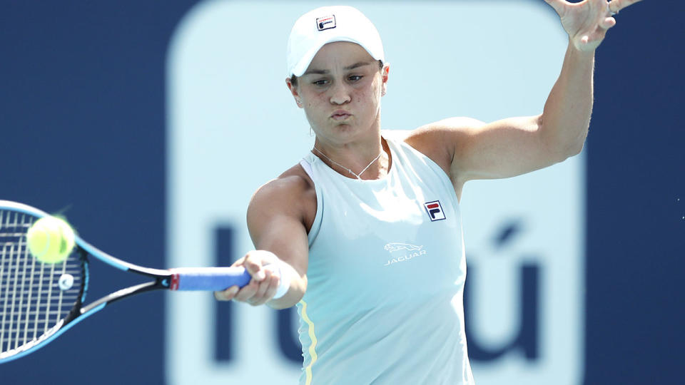 Ash Barty, pictured here in action against Aryna Sabalenka at the Miami Open.